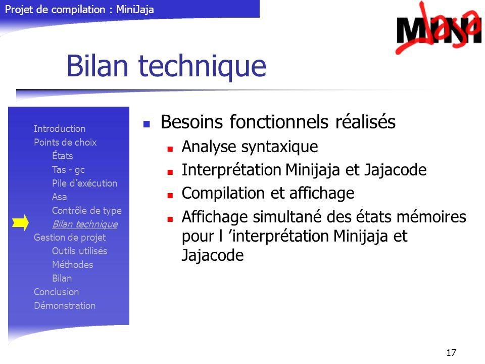 Bilan technique Besoins fonctionnels réalisés Analyse syntaxique