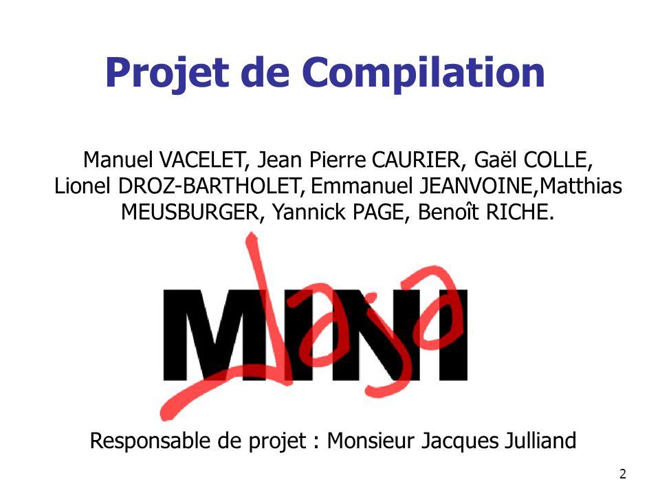 Projet de Compilation Manuel VACELET, Jean Pierre CAURIER, Gaël COLLE,