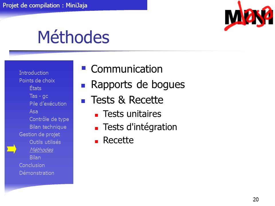 Méthodes Communication Rapports de bogues Tests & Recette