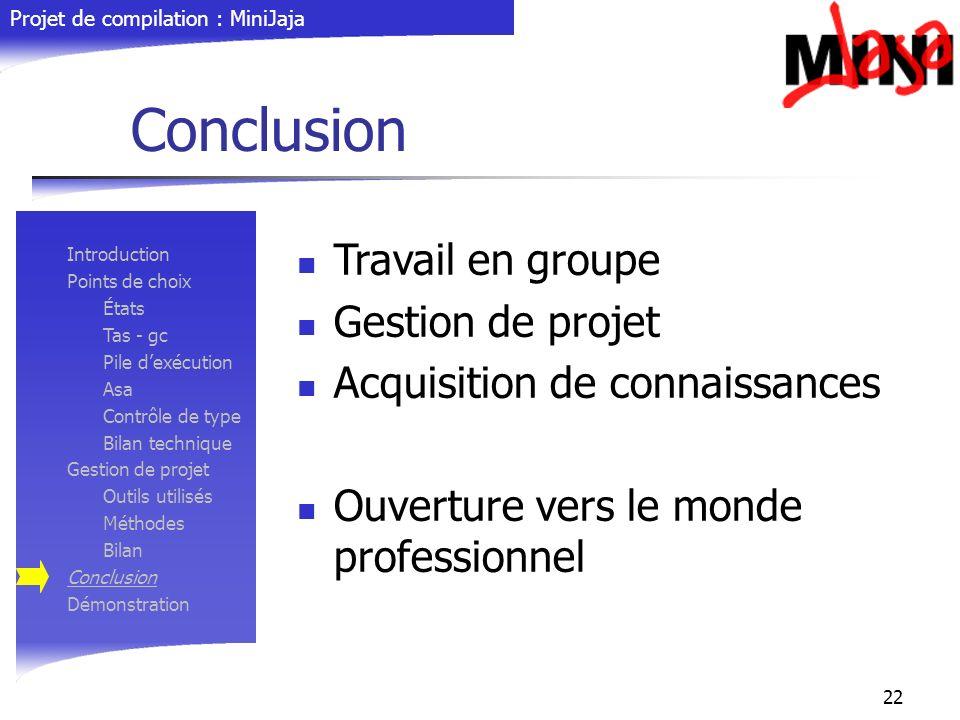 Conclusion Travail en groupe Gestion de projet