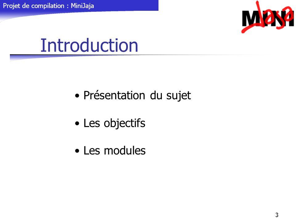 Introduction Présentation du sujet Les objectifs Les modules