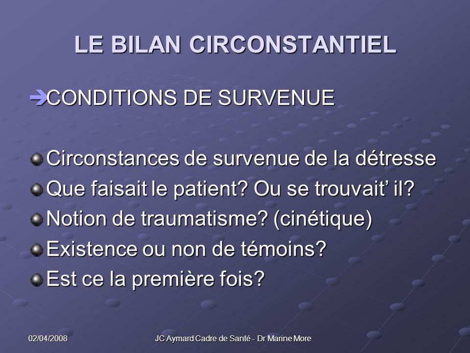LE BILAN CIRCONSTANTIEL