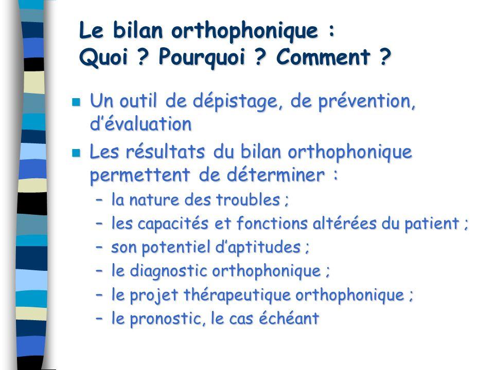 Le bilan orthophonique : Quoi Pourquoi Comment