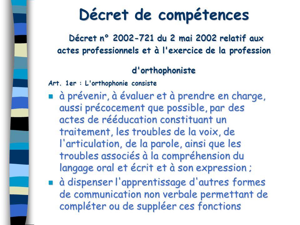 Décret de compétences Décret n° 2002-721 du 2 mai 2002 relatif aux actes professionnels et à l exercice de la profession d orthophoniste
