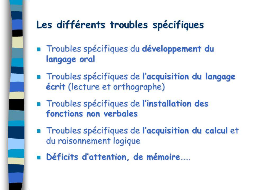 Les différents troubles spécifiques