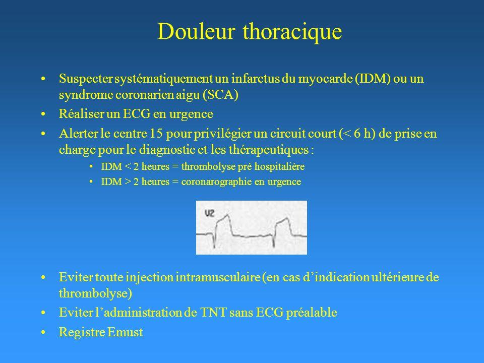 Douleur thoracique Suspecter systématiquement un infarctus du myocarde (IDM) ou un syndrome coronarien aigu (SCA)