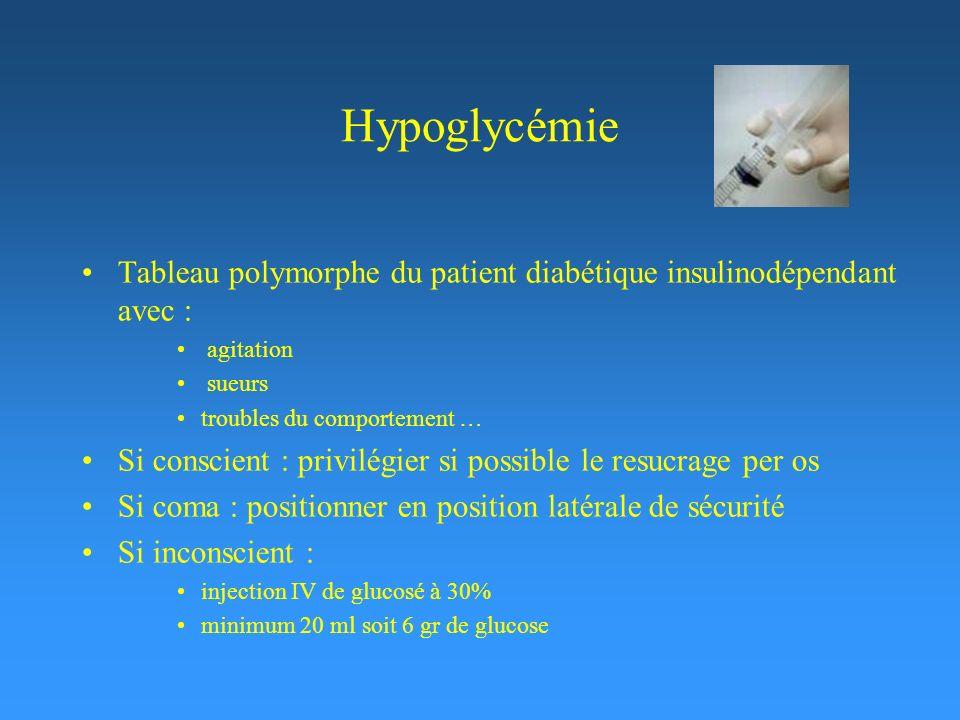 Hypoglycémie Tableau polymorphe du patient diabétique insulinodépendant avec : agitation. sueurs.