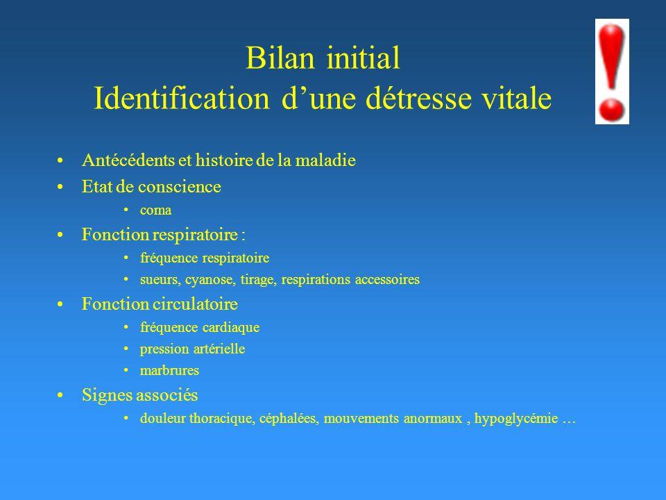 Bilan initial Identification d'une détresse vitale