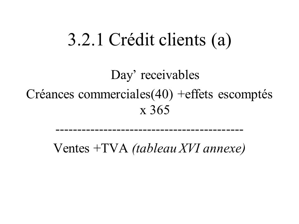 3.2.1 Crédit clients (a) Day' receivables