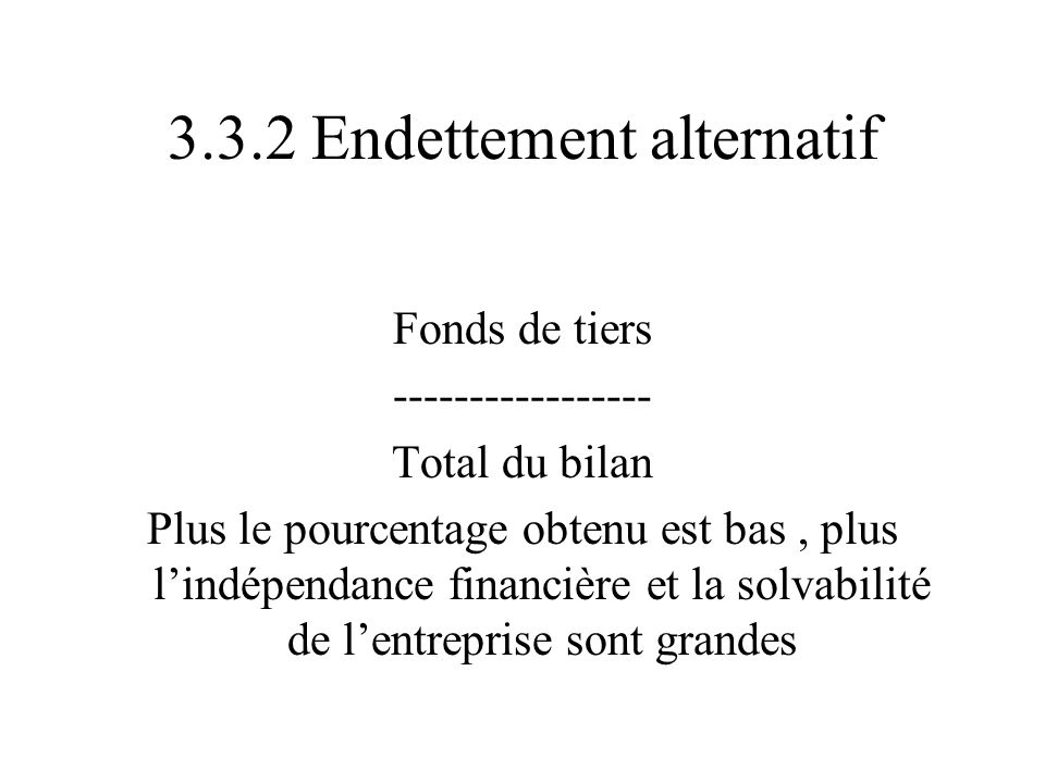 3.3.2 Endettement alternatif
