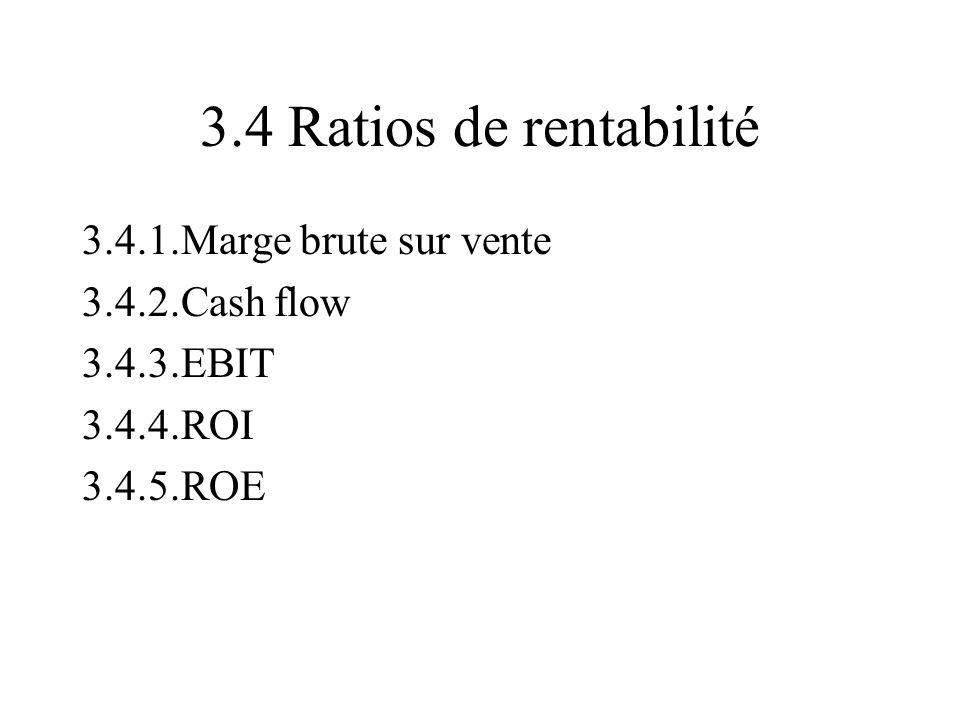 3.4 Ratios de rentabilité 3.4.1.Marge brute sur vente 3.4.2.Cash flow