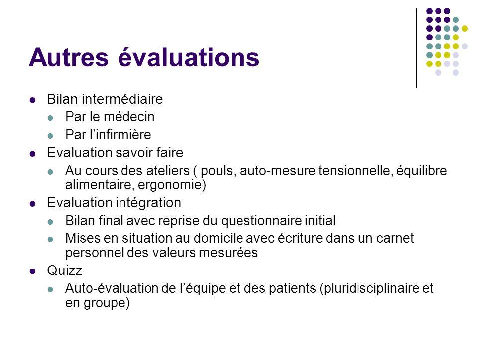Autres évaluations Bilan intermédiaire Evaluation savoir faire