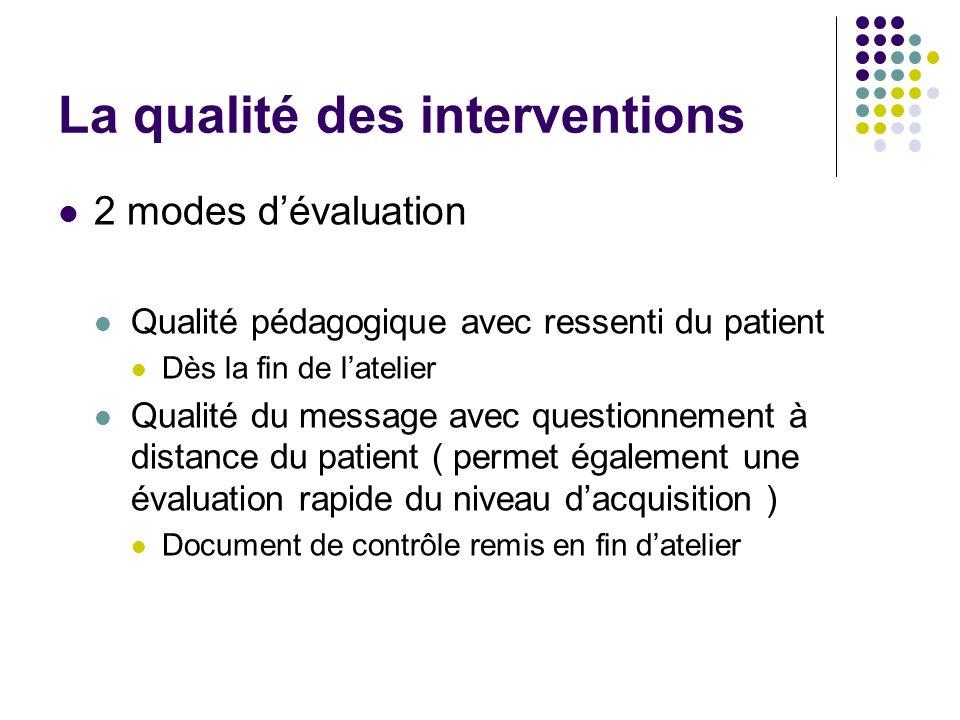 La qualité des interventions