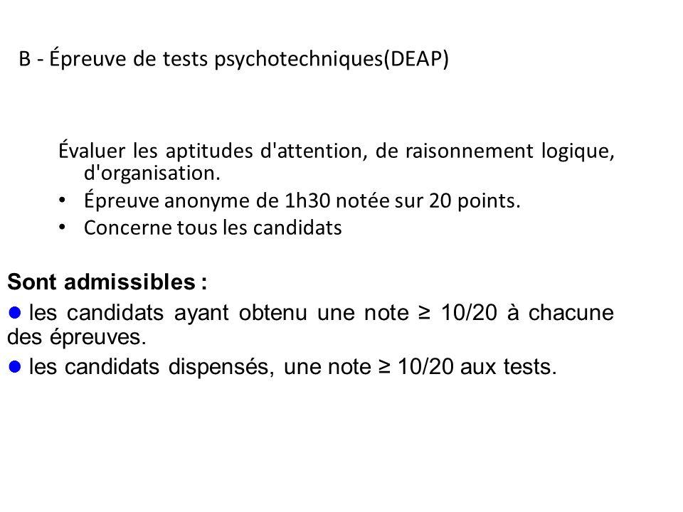 B - Épreuve de tests psychotechniques(DEAP)