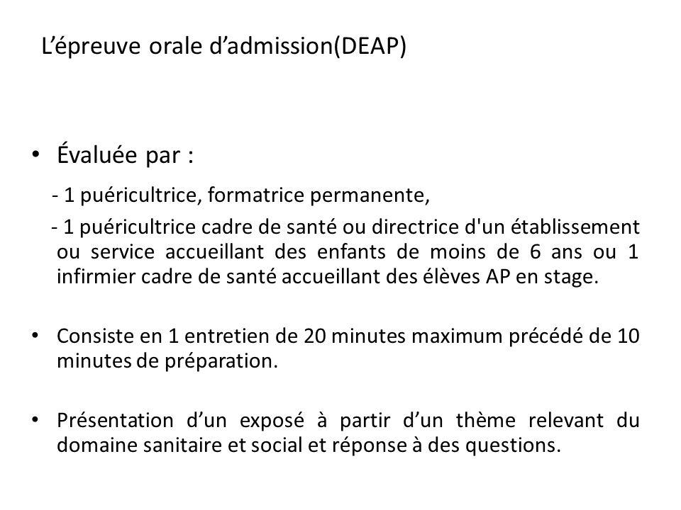 L'épreuve orale d'admission(DEAP)