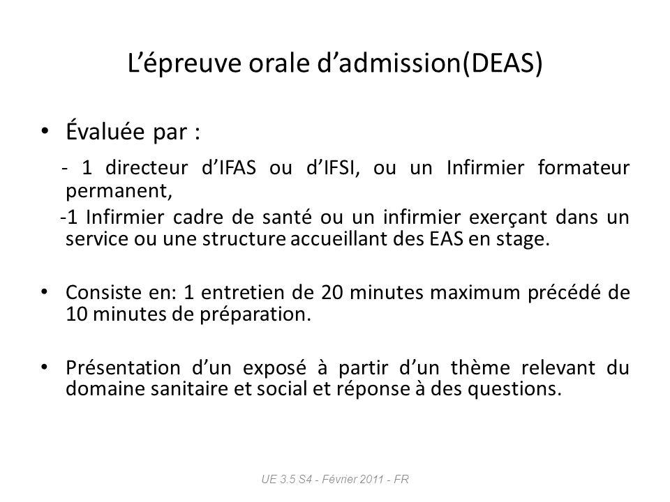 L'épreuve orale d'admission(DEAS)