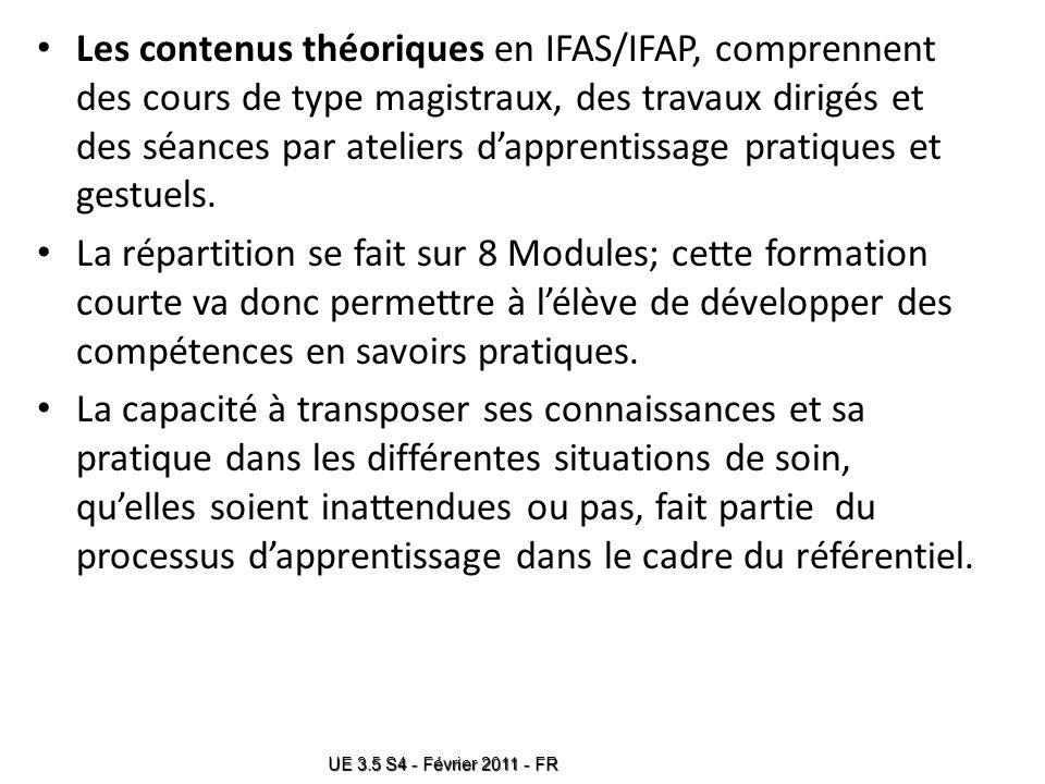 Les contenus théoriques en IFAS/IFAP, comprennent des cours de type magistraux, des travaux dirigés et des séances par ateliers d'apprentissage pratiques et gestuels.