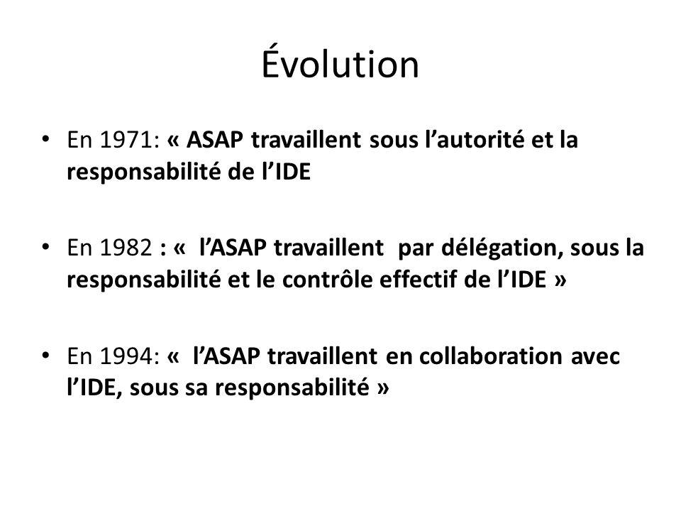 Évolution En 1971: « ASAP travaillent sous l'autorité et la responsabilité de l'IDE