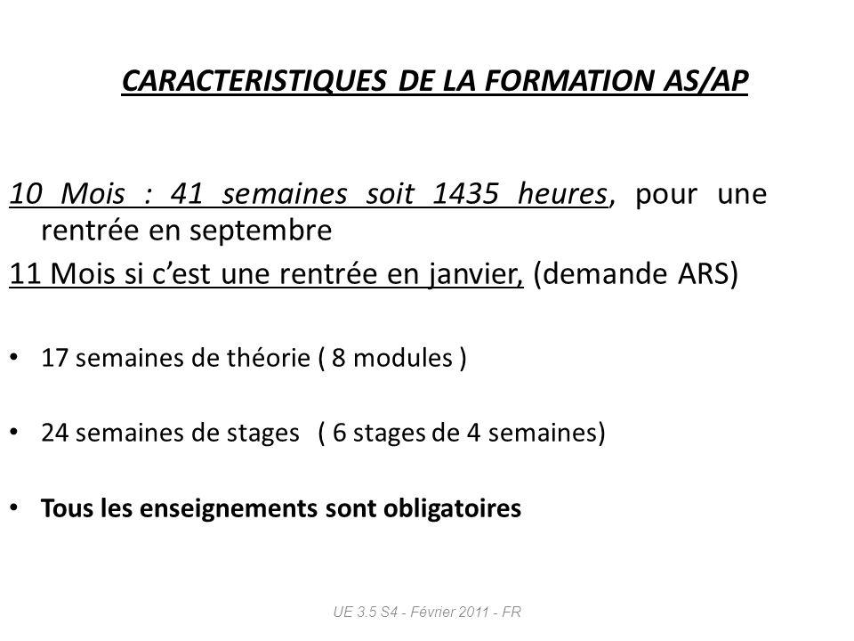 CARACTERISTIQUES DE LA FORMATION AS/AP