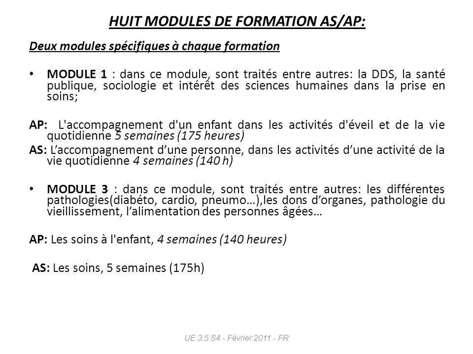 HUIT MODULES DE FORMATION AS/AP: