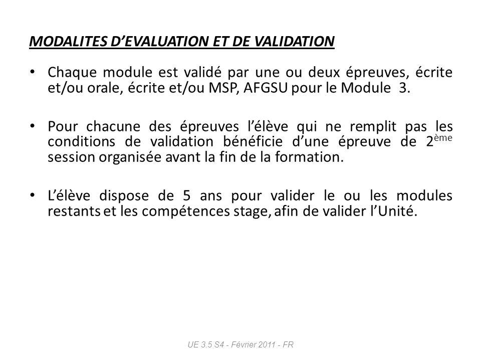 MODALITES D'EVALUATION ET DE VALIDATION