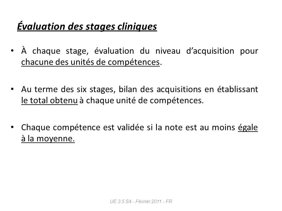 Évaluation des stages cliniques