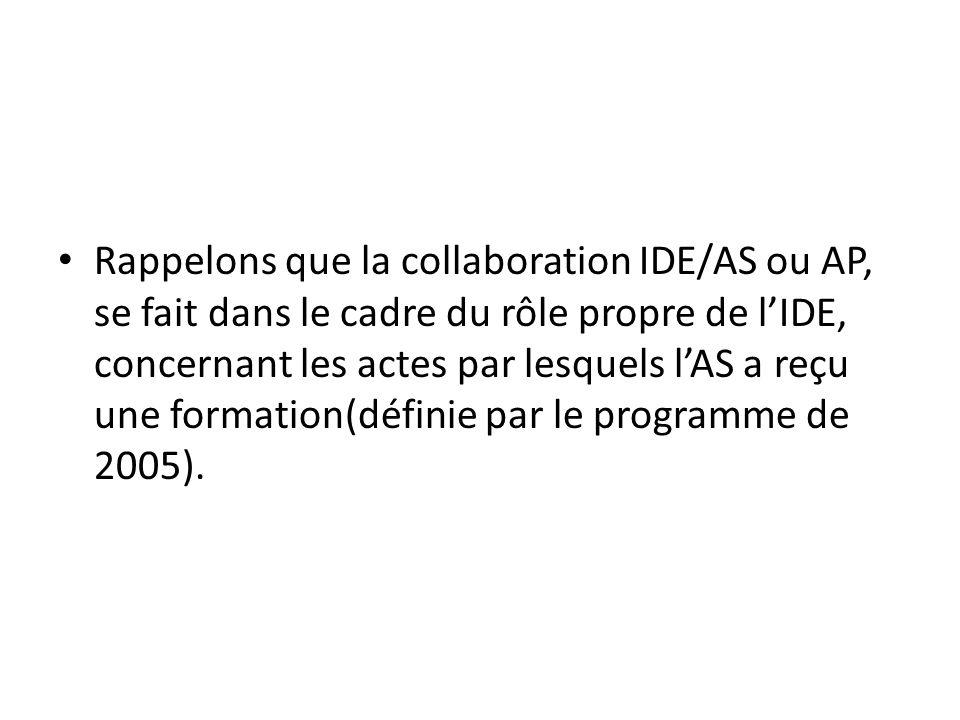 Rappelons que la collaboration IDE/AS ou AP, se fait dans le cadre du rôle propre de l'IDE, concernant les actes par lesquels l'AS a reçu une formation(définie par le programme de 2005).