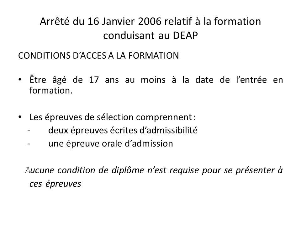 Arrêté du 16 Janvier 2006 relatif à la formation conduisant au DEAP