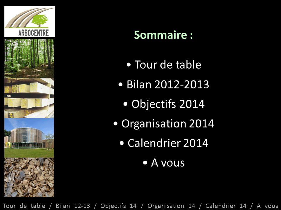 Sommaire : Tour de table Bilan 2012-2013 Objectifs 2014