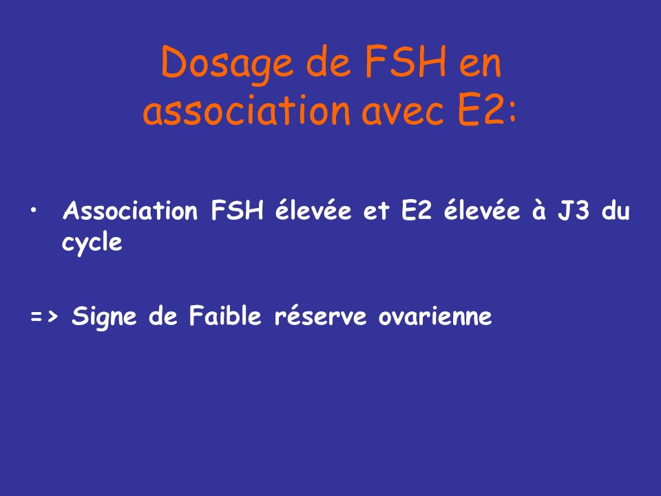Dosage de FSH en association avec E2: