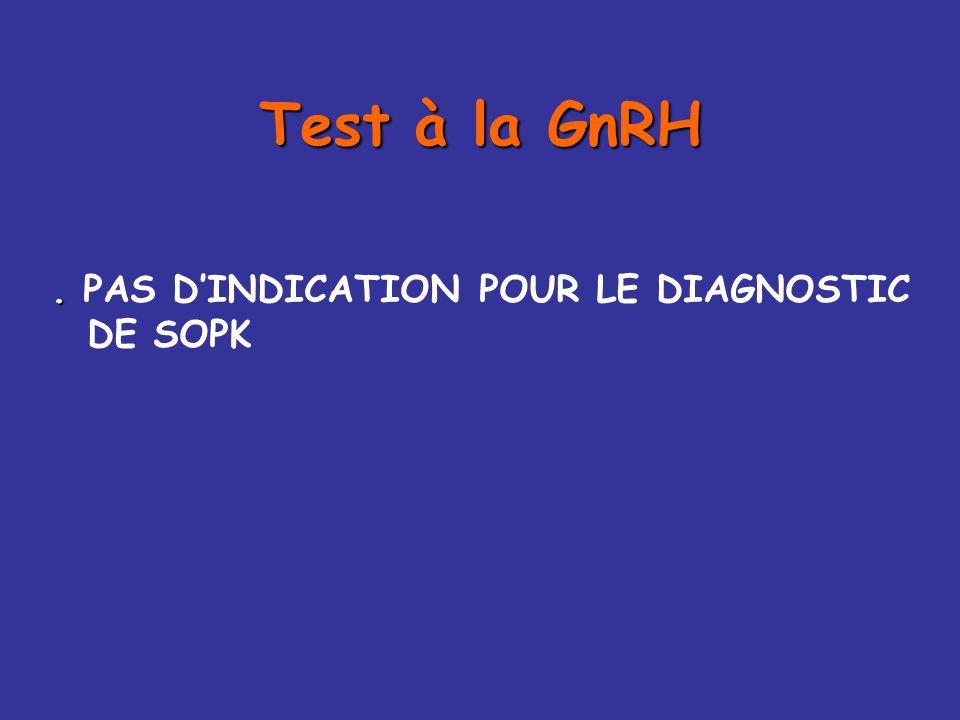 Test à la GnRH . PAS D'INDICATION POUR LE DIAGNOSTIC DE SOPK
