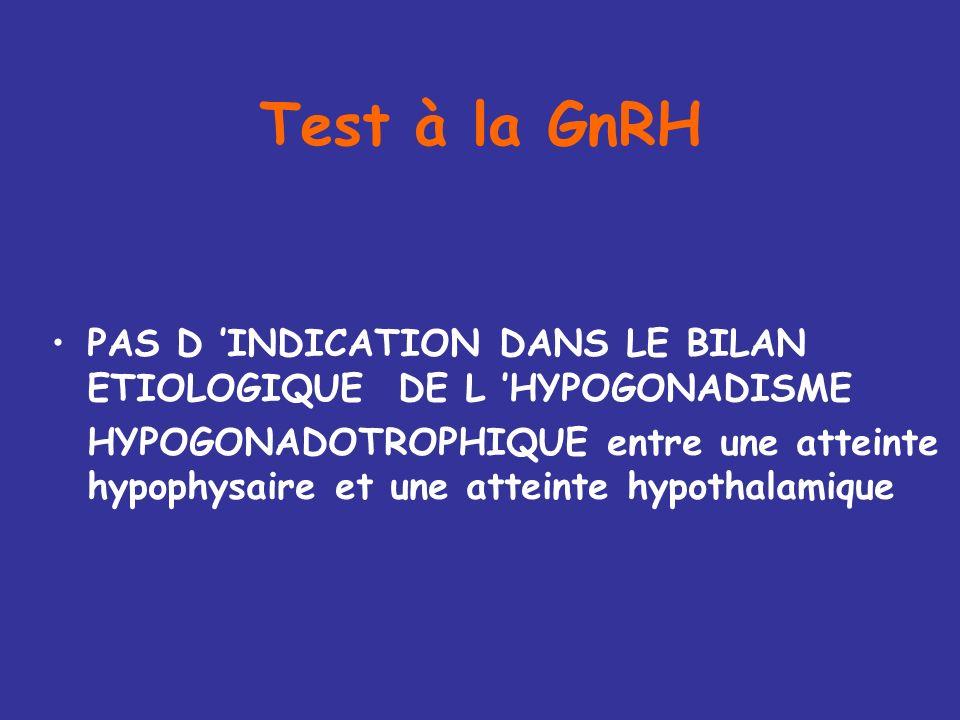 Test à la GnRH PAS D 'INDICATION DANS LE BILAN ETIOLOGIQUE DE L 'HYPOGONADISME.