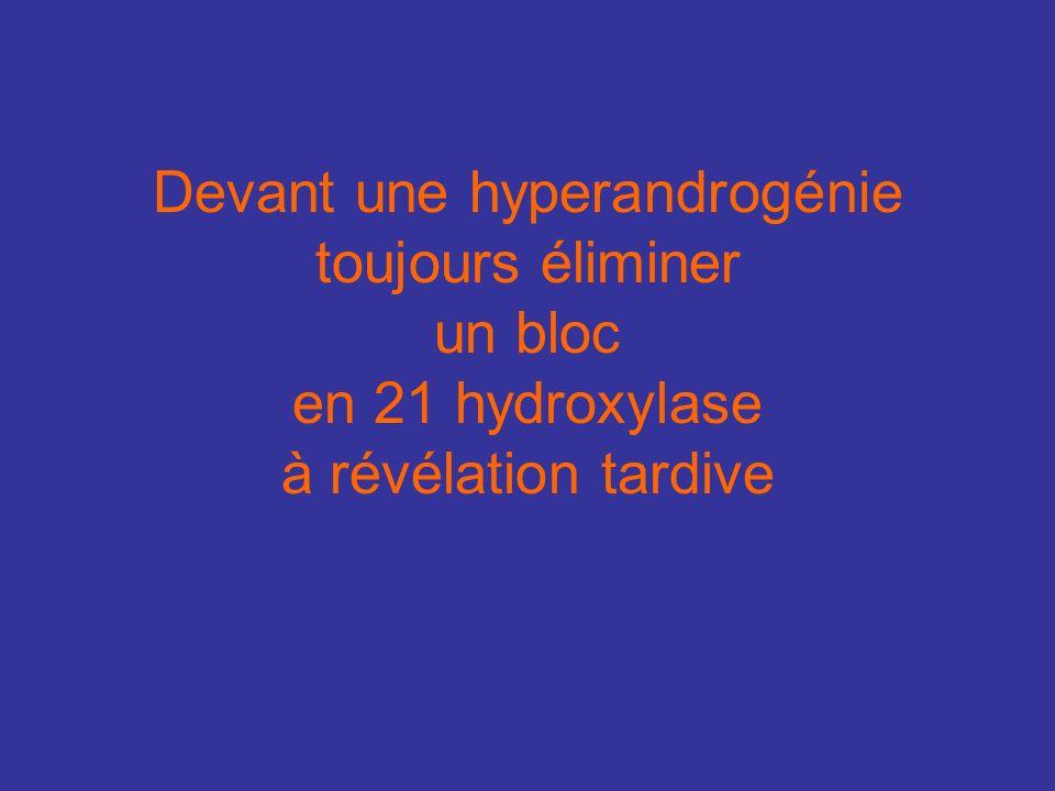 Devant une hyperandrogénie toujours éliminer un bloc en 21 hydroxylase à révélation tardive