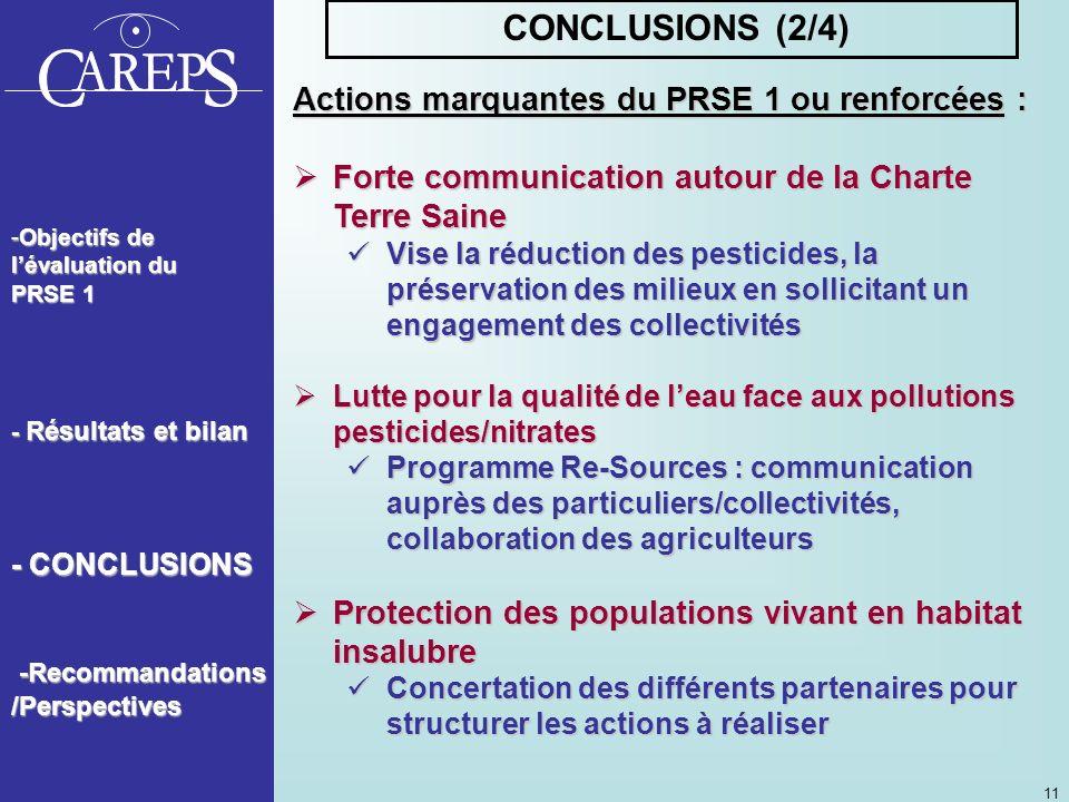 CONCLUSIONS (2/4) Actions marquantes du PRSE 1 ou renforcées :
