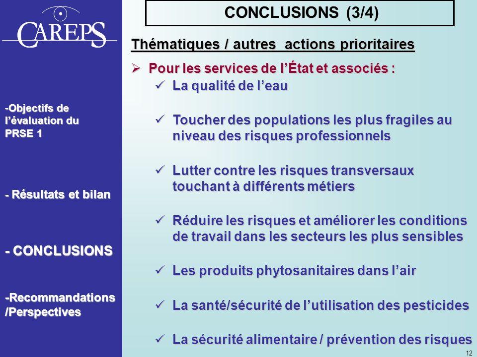 CONCLUSIONS (3/4) Thématiques / autres actions prioritaires