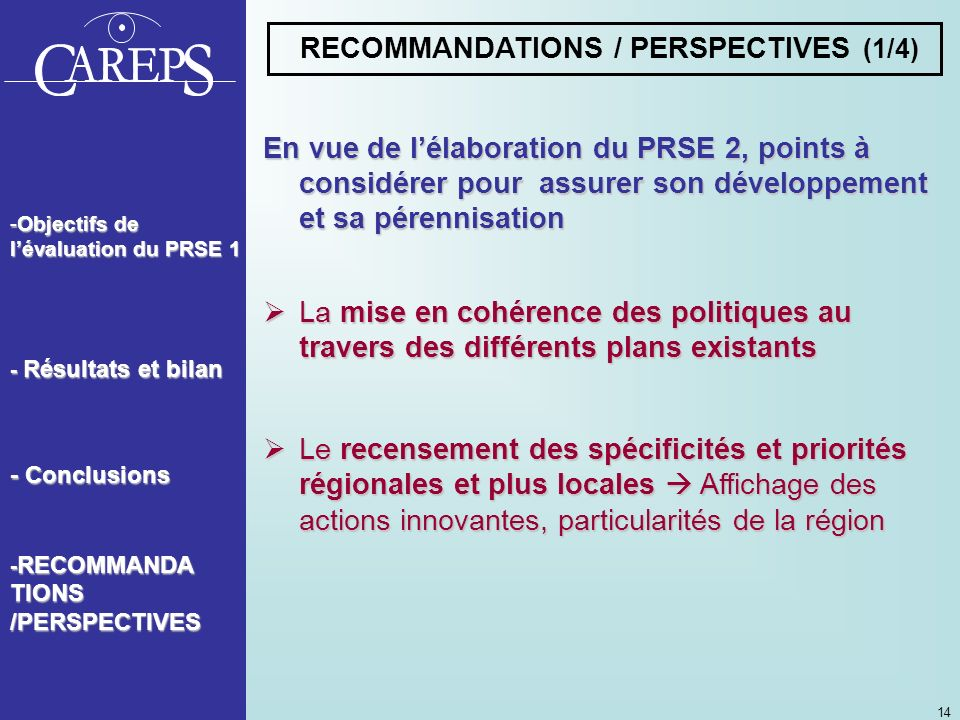 RECOMMANDATIONS / PERSPECTIVES (1/4)
