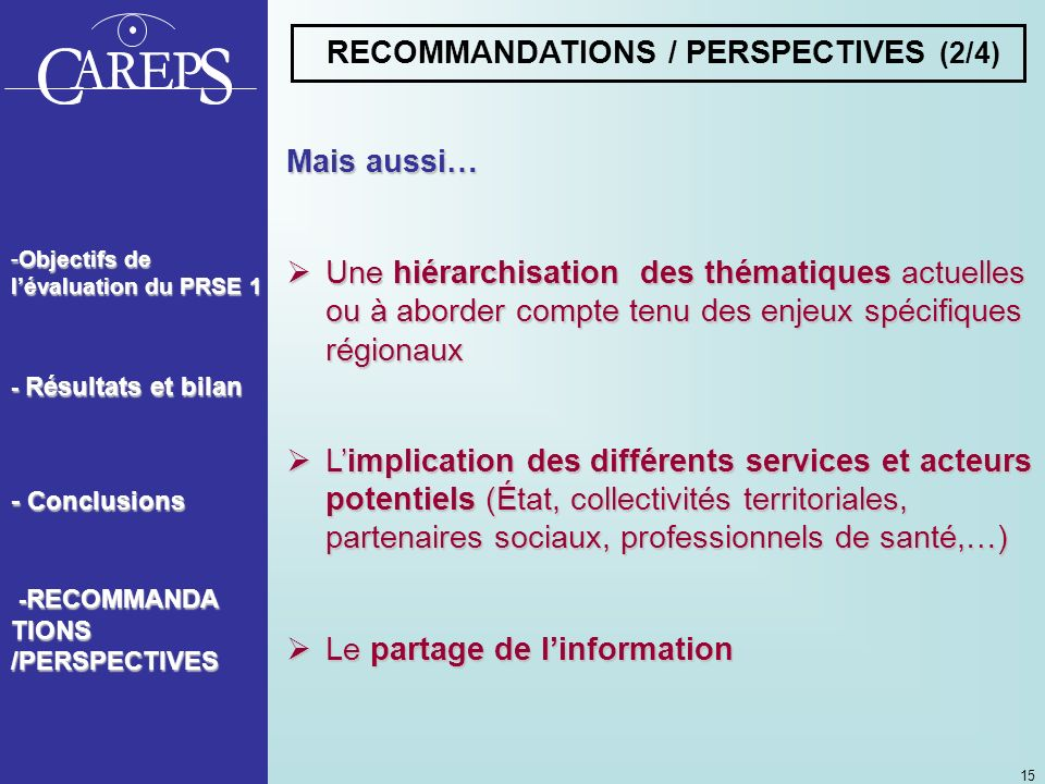 RECOMMANDATIONS / PERSPECTIVES (2/4)