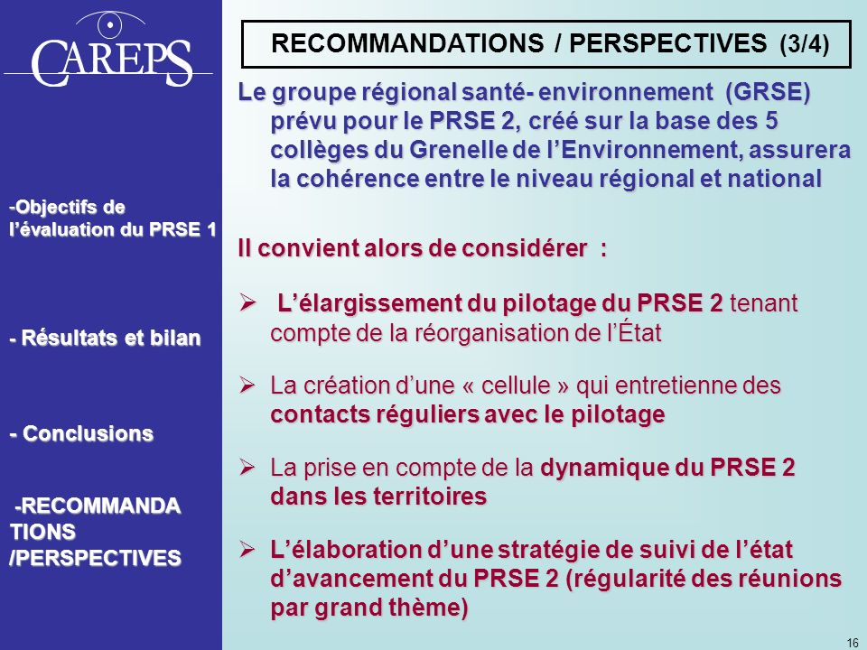 RECOMMANDATIONS / PERSPECTIVES (3/4)
