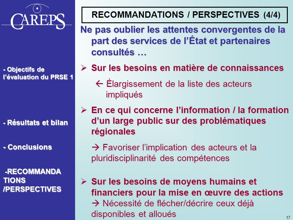 RECOMMANDATIONS / PERSPECTIVES (4/4)