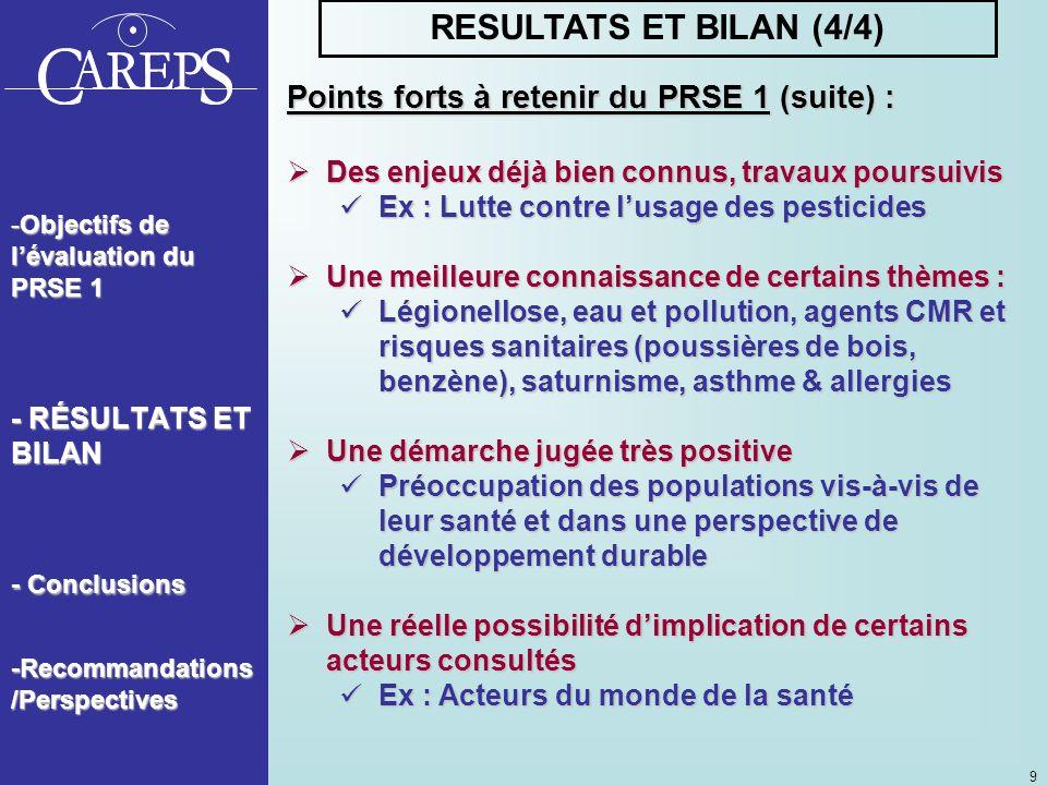 RESULTATS ET BILAN (4/4) Points forts à retenir du PRSE 1 (suite) :