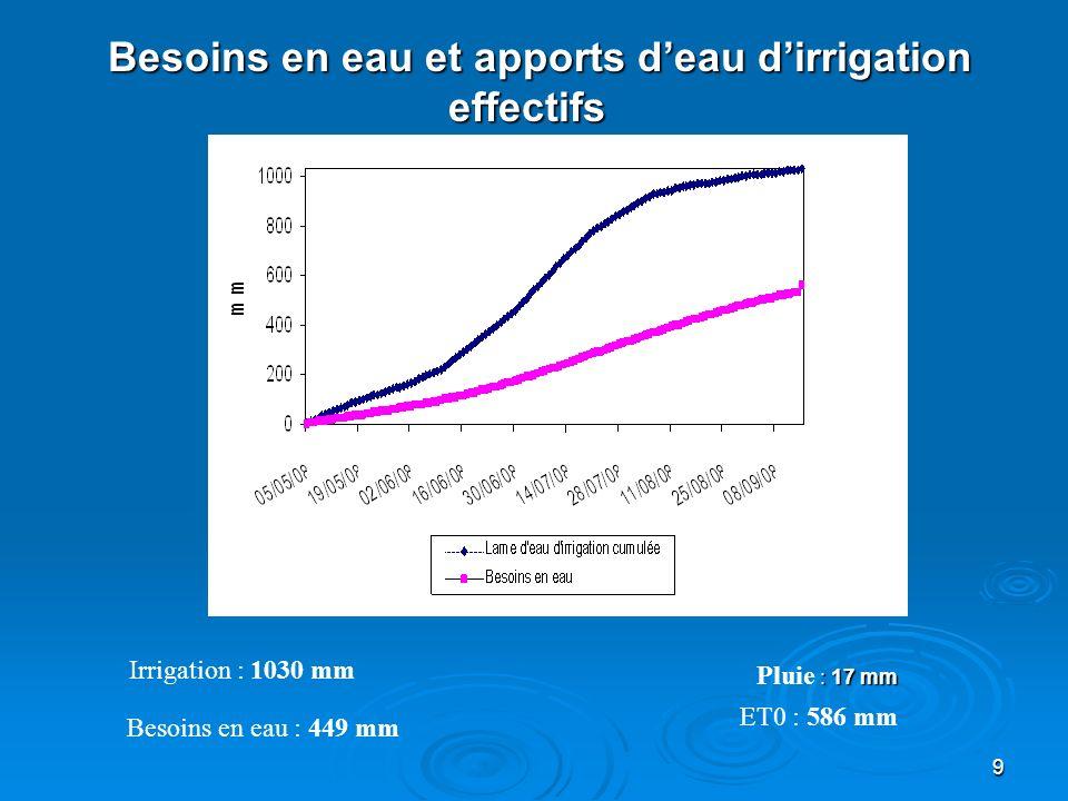 Besoins en eau et apports d'eau d'irrigation effectifs