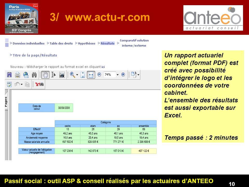 3/ www.actu-r.com Un rapport actuariel complet (format PDF) est créé avec possibilité d'intégrer le logo et les coordonnées de votre cabinet.