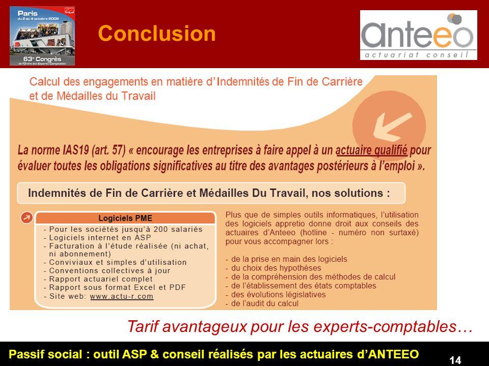 Conclusion Tarif avantageux pour les experts-comptables…