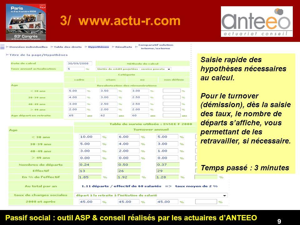 3/ www.actu-r.com Saisie rapide des hypothèses nécessaires au calcul.