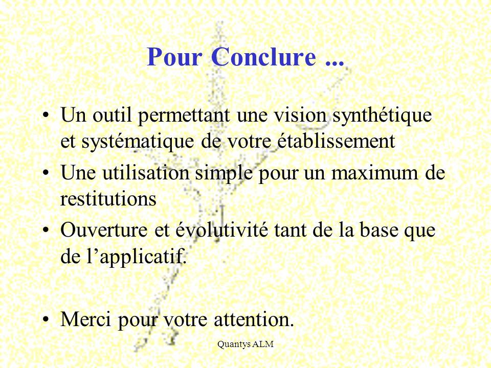 Pour Conclure ... Un outil permettant une vision synthétique et systématique de votre établissement.