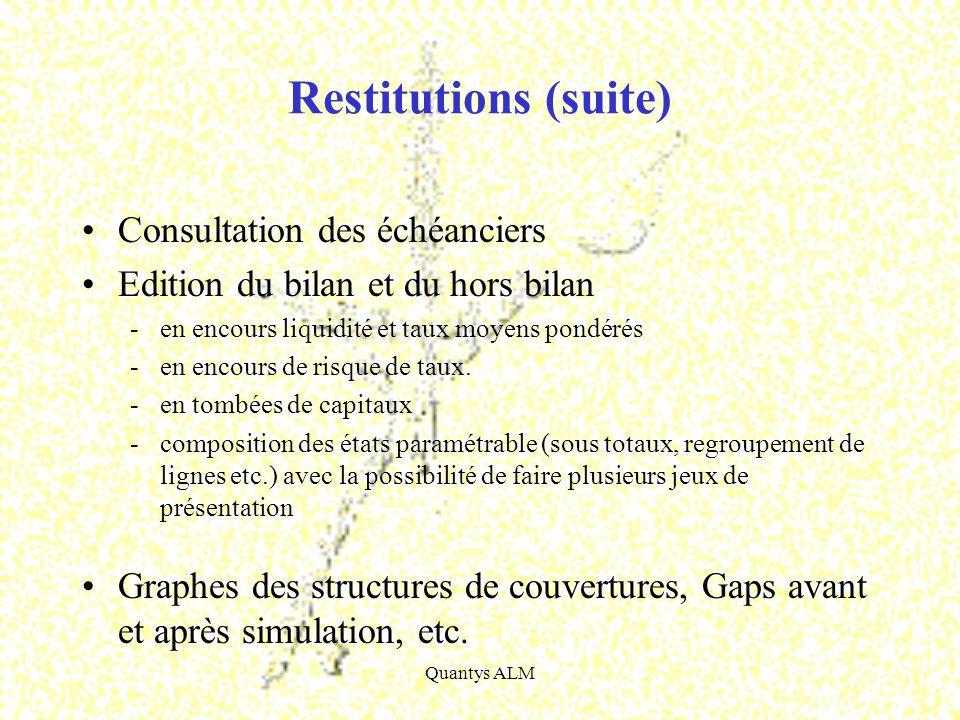 Restitutions (suite) Consultation des échéanciers