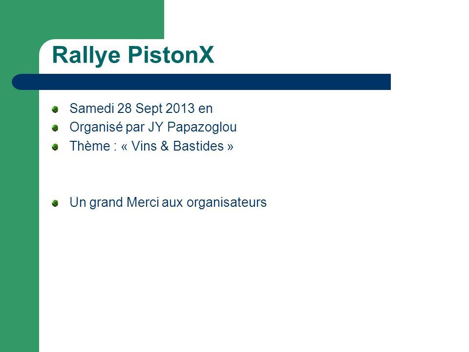 Rallye PistonX Samedi 28 Sept 2013 en Organisé par JY Papazoglou