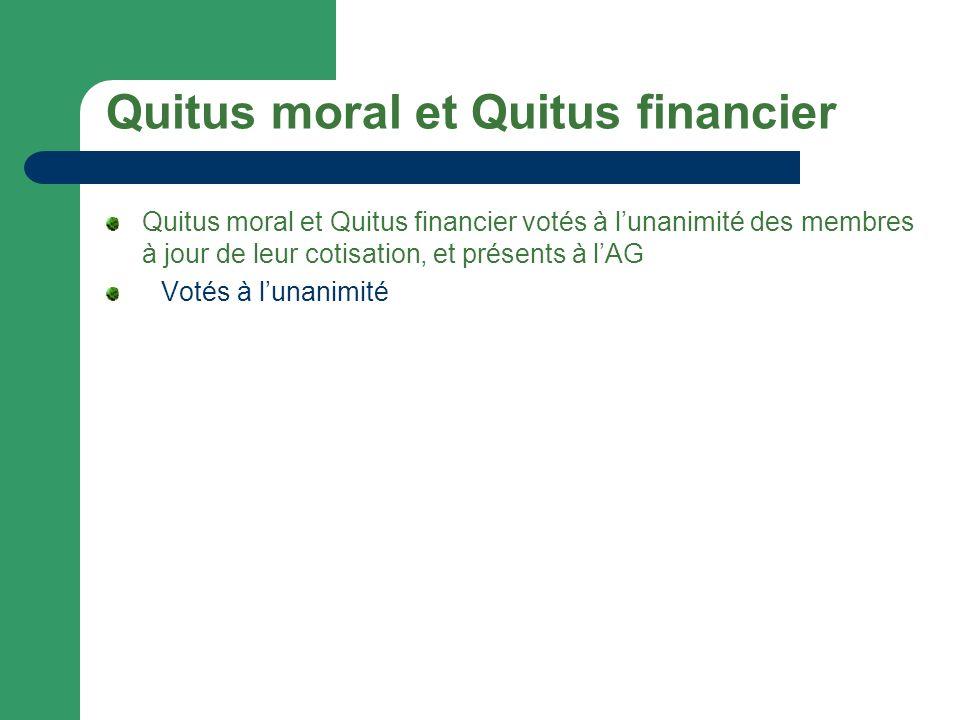 Quitus moral et Quitus financier