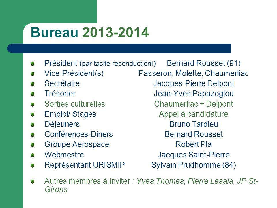 Bureau 2013-2014 Président (par tacite reconduction!) Bernard Rousset (91) Vice-Président(s) Passeron, Molette, Chaumerliac.