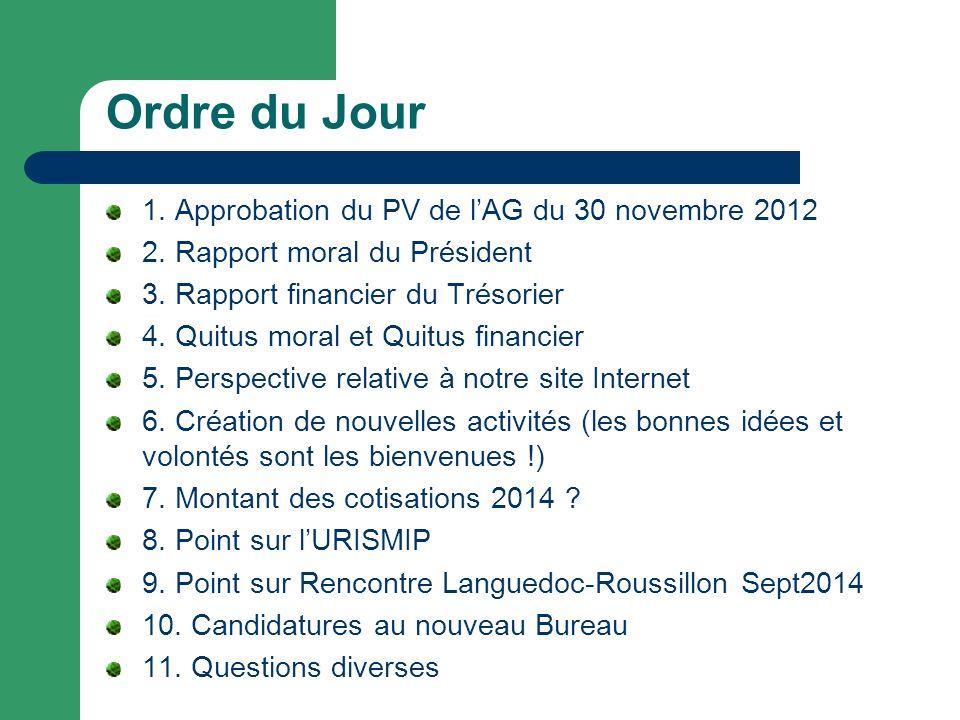 Ordre du Jour 1. Approbation du PV de l'AG du 30 novembre 2012
